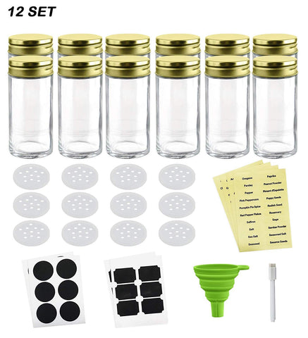 Nellam French Square Glass Spice Jars – Set of 12 with Shaker Lids and Chalkboard Sticker Labels, Small 4oz Bottles - Stackable Herbs and Spices Containers - Decorative Organizers in Gold