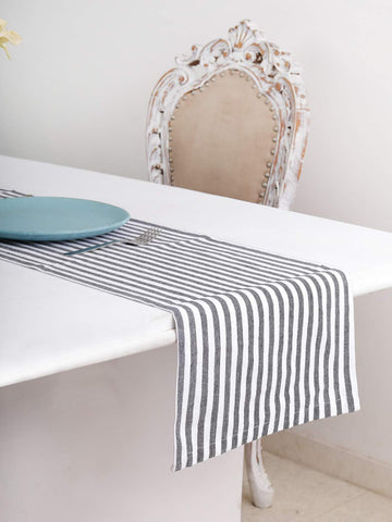 "Cotton Table Runner (13 X 108 Inches), Grey & White Stripe - 1"" Hemmed With Mitered Corner,Perfect For All Seasons And Holidays"
