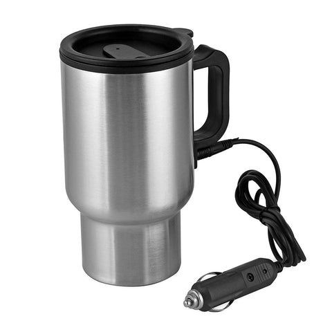 Carperipher 12V Car Heated Mug Tech Tool Stainless Steel Travel Electric Cup Vacuum Thermos Smart Temperature Control for Heating Water, Coffee, Milk and Tea with Airtight Lid, Auto Charger