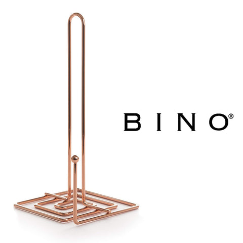 BINO 'Metro' Paper Towel Holder, Rose Gold - Free Standing Decorative Easy Tear Kitchen Paper Towel Roll Dispenser