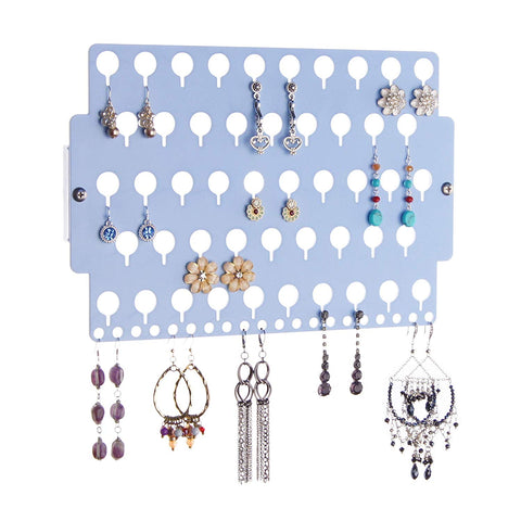 Angelynn's Stud Earring Holder Organizer Wall Mount Hanging Closet Jewelry Storage Rack for Women, Blue