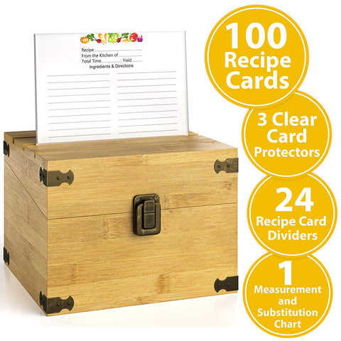 "Zen Earth Ultimate Kitchen Recipe Box & Labeleze Bundle - Luxury Handcrafted Bamboo Wood Case With Card Holder Groove - 350+ 4x6"" Recipe & Index Card Capacity Recipe Cards & Clear Card Frame Included"