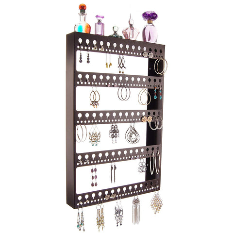 Angelynn's Large Earring Holder Organizer for Hoops, Wall Hanging Closet Jewelry Storage with Shelf, Nichole Rubbed Bronze
