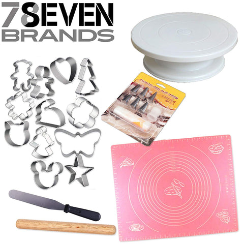 78Seven Bakeware 6 pcs Pastry Set: Pastry Mat, Cake Stand, Cookie Cutters. Cake Decorating Supplies: Icing Tips, Spatula, and Rolling Pin.