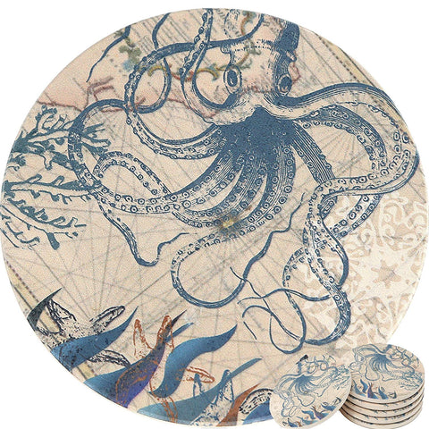 ENKORE Coasters Set of 6 - Absorbent Natural Ceramic Thirsty Stone Keep Spill Off Table, Coaster For Drinks With Vibrant Colors And Cork Backing - Octopus On World Map Novelty Design With NO Holder