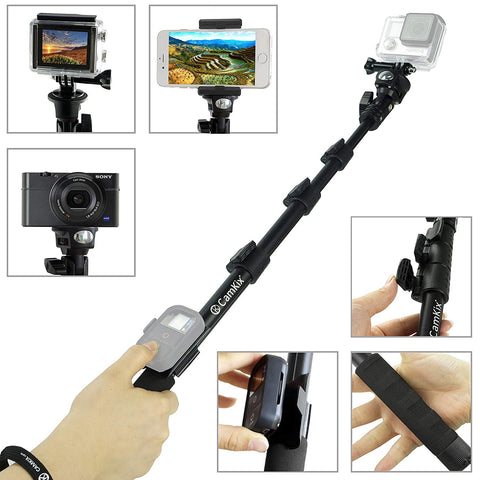 "CamKix Premium Telescopic Pole 16"" - 47"" - For Gopro Hero 4, Session, Black, Silver, Hero+ LCD, 3+, 3, 2, 1; Compact Cameras; and Cell Phones - With Cradle for Remote - Strong and Stable Clip Locks"