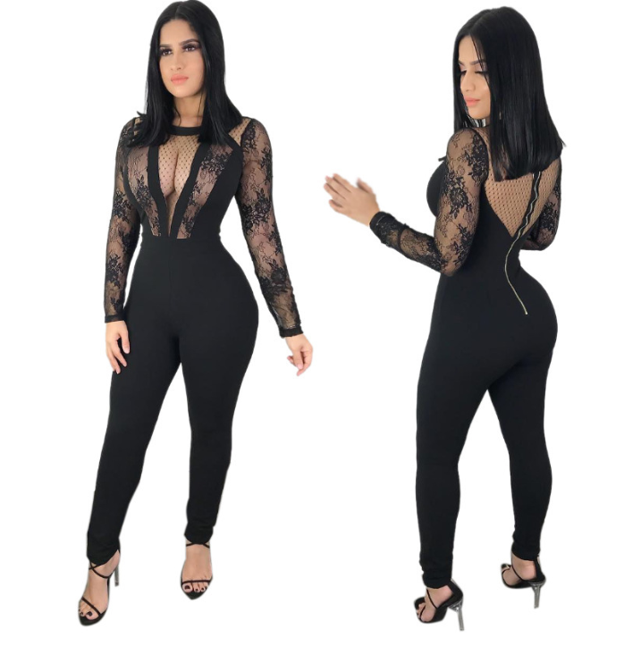 Womens Patchwork Bandage Jumpsuit