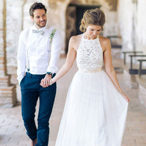 Sexy Wedding Lace Halter Hanging Neck Dress