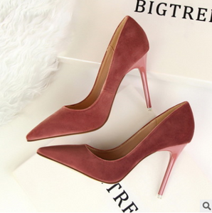 Stiletto with high-heeled shallow mouth pointed suede