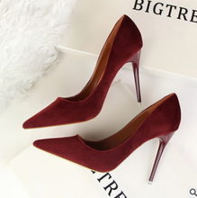 Load image into Gallery viewer, Stiletto with high-heeled shallow mouth pointed suede