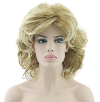 European and American Style Golden Medium Length Wig
