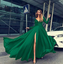 Load image into Gallery viewer, High slit big swing dress with deep V and long sleeve dress