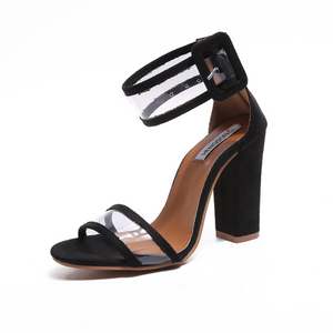 Thick heel sandals with high heel sandals