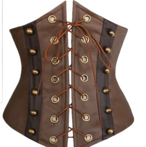 Brown Leather Underbust Corset