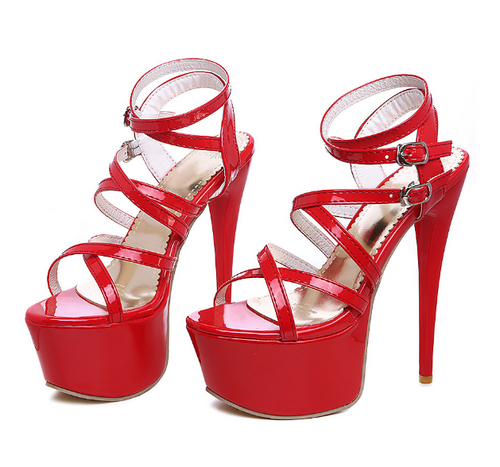 Round head cross straps with high heel stiletto style