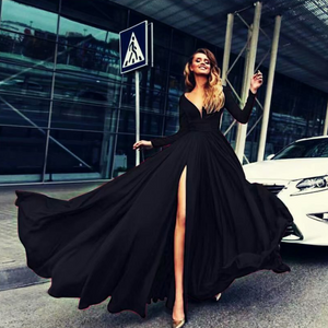 High slit big swing dress with deep V and long sleeve dress