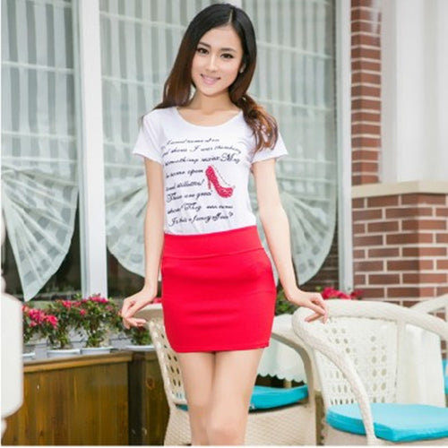 Sexy Hip Pencil High Waist Pleated Elastic Slim Mini Skirt