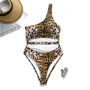 Sexy Cougar Swimsuit Single Shoulder Style