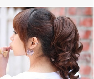 Trendy Korean style tiger ponytail curls wig