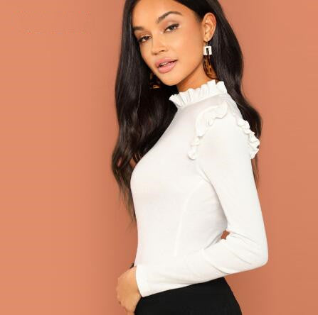 Stand collar, ruffled, solid keyhole shirt