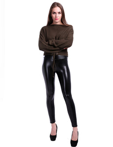Slim high waist leather pants