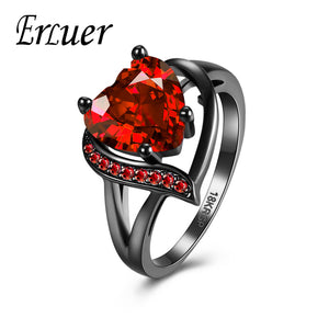 Black Gun Color Red/Purple Heart Ring