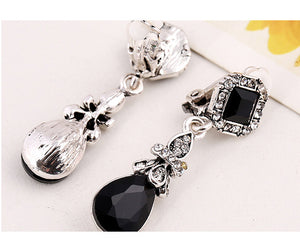 Black Water Drop Clip On Earrings Without Piercing