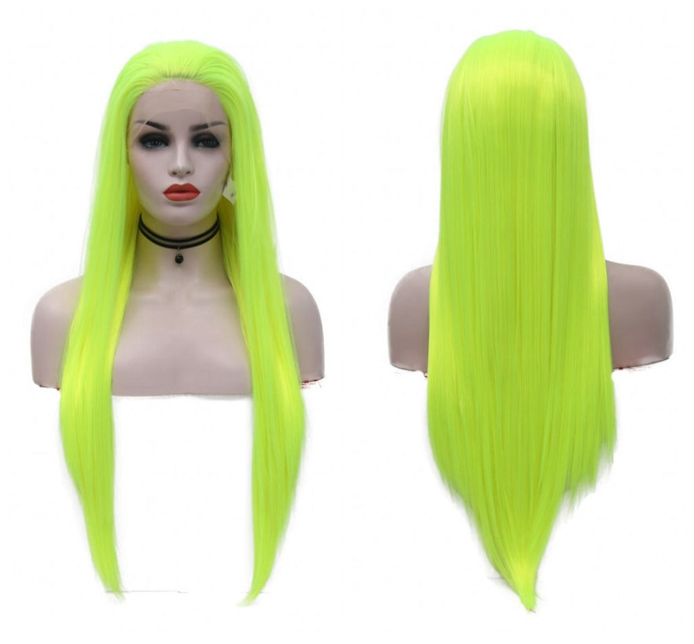 Synthetic Lace Front Wig Light Green Straight