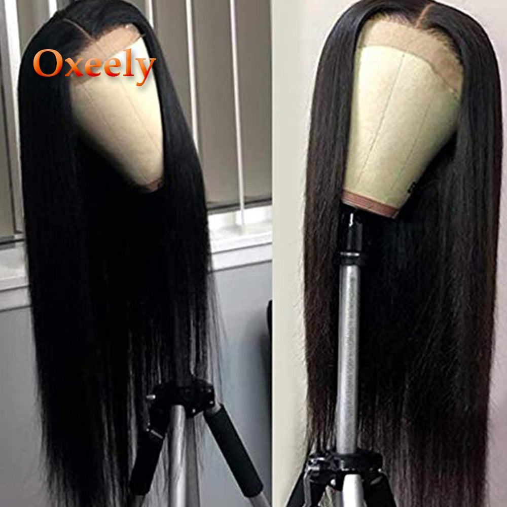 Long Straight Lace Front Wigs Heat Resistant Black Straight Synthetic