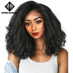 Spring sunshine 20inch Afro Kinky Straight Wig Wave Ends Synthetic Fluffy Heat Resistant Marley Wigs for Women