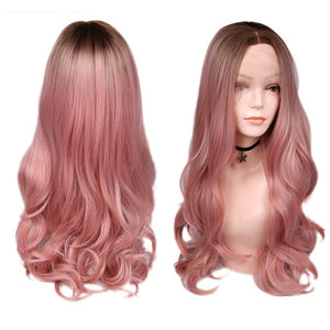 Blonde Rose Pink/Blonde Long Wavy Heat Resistant Synthetic Wig