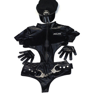 Sexy Faux Leather Women Police Costume
