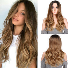 Load image into Gallery viewer, Stamped Glorious Natural Wave Wig Ombre Black Brown Wig Synthetic Long Wigs for Women Middle Part Heat Resistant Fiber Hair