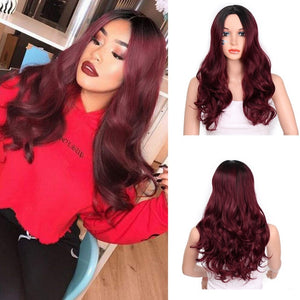Stamped Glorious Natural Wave Wig Ombre Black Brown Wig Synthetic Long Wigs for Women Middle Part Heat Resistant Fiber Hair