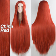 "Load image into Gallery viewer, LiangMo Green Purple Black Wig 100CM/40"" Synthetic Heat Resistant Fiber Long Carnival Costume Cos-play For Party Straight Hair"