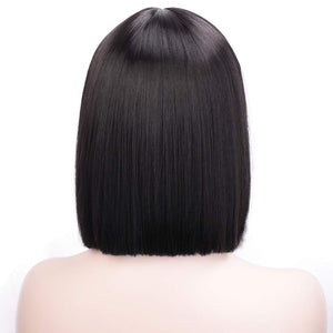Stamped Glorious Straight Black Wig With Bangs Synthetic Short Wigs for Women Heat Resistant Fiber Hair Cosplay Wig