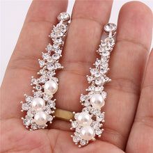 Load image into Gallery viewer, Long Rhinestone Simulated Pearl Clip On Earrings Without Piercing