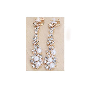 Long Rhinestone Simulated Pearl Clip On Earrings Without Piercing