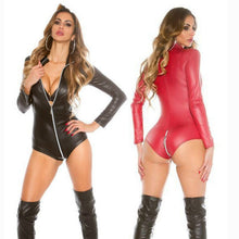 Load image into Gallery viewer, Wetlook Latex Catsuit Faux Leather Front Zipper Bodysuit