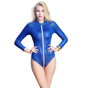 Wetlook Latex Catsuit Faux Leather Front Zipper Bodysuit