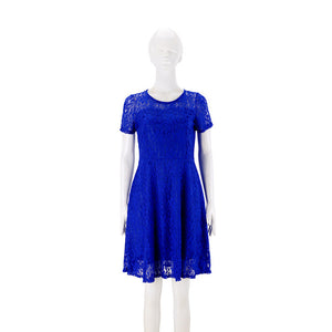 O Neck Royal Lace Short Sleeve Elegant Cocktail Dress