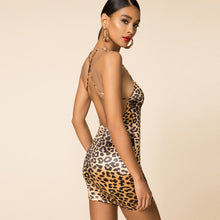 Load image into Gallery viewer, Leopard Print Sling Night Club Dress
