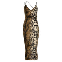 Load image into Gallery viewer, Tea Length Sexy Cheetah Tiger Leopard Print Cocktail Dress With Spaghetti Strap