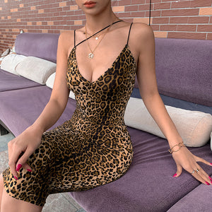 Tea Length Sexy Cheetah Tiger Leopard Print Cocktail Dress With Spaghetti Strap