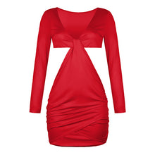 Load image into Gallery viewer, Elegant Cross V Neck Knotted Bodycon Dress
