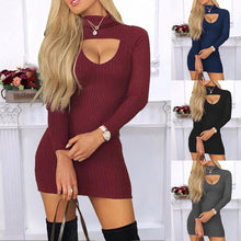 Load image into Gallery viewer, Solid Sexy Low Cut Skinny Knitting Mini Dress