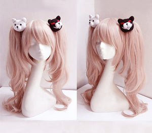 Cosplay Wig Pink Long Wavy With Ponytail Clip