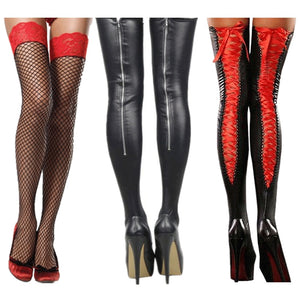 Nightclub Latex Leather Look Stockings