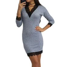 Load image into Gallery viewer, Patchwork Lace Hemline V-Neck Ladies Mini Dress