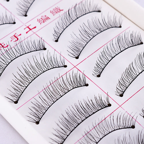 Set Natural Long False Eyelashes (10 Pairs)